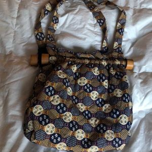 Handbags - Vintage 70's Hippie Purse / Bag w/ Wood accents.